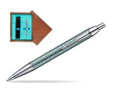 Parker IM Premium Vacumatic Emerald Pearl CT Ballpoint Pen in single wooden box  Mahogany Single Turquoise