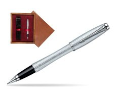 Parker Urban Premium Vacumatic Silver-Blue Pearl CT Fountain Pen in single wooden box Mahogany Single Maroon