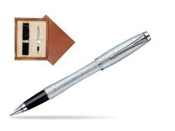 Parker Urban Premium Vacumatic Silver-Blue Pearl CT Fountain Pen in single wooden box  Mahogany Single Ecru