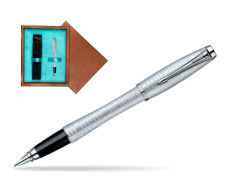 Parker Urban Premium Vacumatic Silver-Blue Pearl CT Fountain Pen in single wooden box  Mahogany Single Turquoise