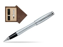 Parker Urban Premium Vacumatic Silver-Blue Pearl CT Fountain Pen in single wooden box  Wenge Single Ecru