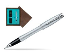 Parker Urban Premium Vacumatic Silver-Blue Pearl CT Fountain Pen in single wooden box  Wenge Single Turquoise