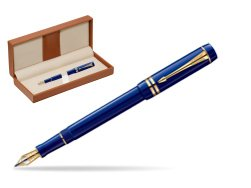 Parker Duofold Navy Blue Resin International GT Fountain Pen  in classic box brown