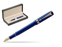 Parker Duofold Navy Blue Resin International GT Fountain Pen  in classic box  black