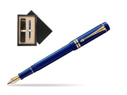 Parker Duofold Navy Blue Resin International GT Fountain Pen  single wooden box  Wenge Single Ecru