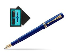 Parker Duofold Navy Blue Resin International GT Fountain Pen  single wooden box  Black Single Turquoise