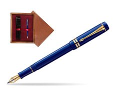 Parker Duofold Navy Blue Resin International GT Fountain Pen  single wooden box Mahogany Single Maroon