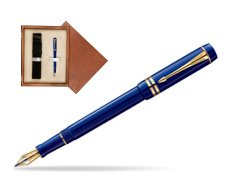 Parker Duofold Navy Blue Resin International GT Fountain Pen  single wooden box  Mahogany Single Ecru