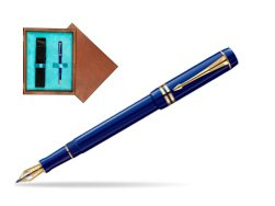 Parker Duofold Navy Blue Resin International GT Fountain Pen  single wooden box  Mahogany Single Turquoise