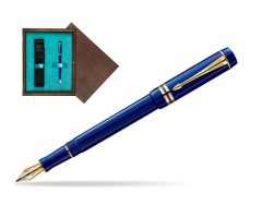 Parker Duofold Navy Blue Resin International GT Fountain Pen  single wooden box  Wenge Single Turquoise