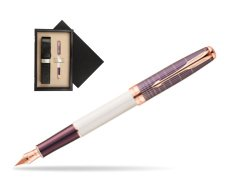 Parker Sonnet Contort Purple Cisele PGT Fountain Pen  single wooden box  Wenge Single Ecru