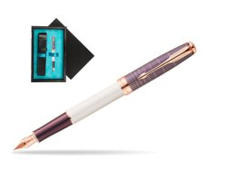 Parker Sonnet Contort Purple Cisele PGT Fountain Pen  single wooden box  Black Single Turquoise