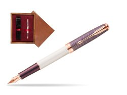 Parker Sonnet Contort Purple Cisele PGT Fountain Pen  single wooden box Mahogany Single Maroon