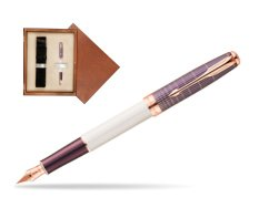 Parker Sonnet Contort Purple Cisele PGT Fountain Pen  single wooden box  Mahogany Single Ecru