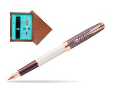 Parker Sonnet Contort Purple Cisele PGT Fountain Pen  single wooden box  Mahogany Single Turquoise