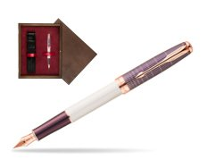 Parker Sonnet Contort Purple Cisele PGT Fountain Pen  single wooden box  Wenge Single Maroon