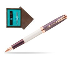 Parker Sonnet Contort Purple Cisele PGT Fountain Pen  single wooden box  Wenge Single Turquoise