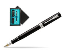 Parker Duofold Classic Black Centennial CT Fountain Pen  single wooden box  Black Single Turquoise