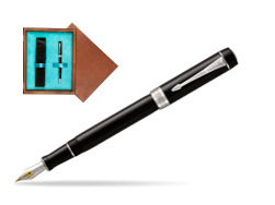 Parker Duofold Classic Black Centennial CT Fountain Pen  single wooden box  Mahogany Single Turquoise