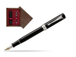 Parker Duofold Classic Black Centennial CT Fountain Pen  single wooden box  Wenge Single Maroon
