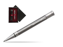 Parker Duofold Prestige Ruthenium Chiselled CT Ballpoint Pen  single wooden box  Black Single Maroon