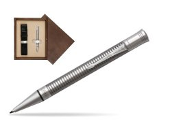 Parker Duofold Prestige Ruthenium Chiselled CT Ballpoint Pen  single wooden box  Wenge Single Ecru