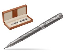 Parker Duofold Prestige Ruthenium Chiselled CT Rollerball Pen  in classic box brown