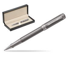 Parker Duofold Prestige Ruthenium Chiselled CT Rollerball Pen  in classic box  pure black