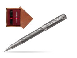 Parker Duofold Prestige Ruthenium Chiselled CT Rollerball Pen  single wooden box Mahogany Single Maroon