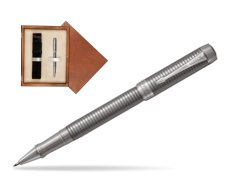 Parker Duofold Prestige Ruthenium Chiselled CT Rollerball Pen  single wooden box  Mahogany Single Ecru