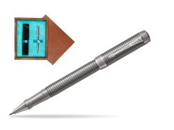 Parker Duofold Prestige Ruthenium Chiselled CT Rollerball Pen  single wooden box  Mahogany Single Turquoise