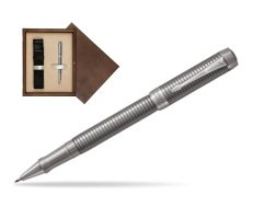 Parker Duofold Prestige Ruthenium Chiselled CT Rollerball Pen  single wooden box  Wenge Single Ecru
