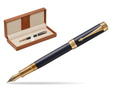 Parker Duofold Prestige Blue Chevron Centennial GT Fountain Pen  in classic box brown