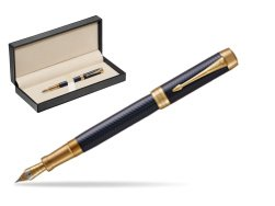 Parker Duofold Prestige Blue Chevron Centennial GT Fountain Pen  in classic box  pure black