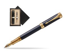 Parker Duofold Prestige Blue Chevron Centennial GT Fountain Pen  single wooden box  Wenge Single Ecru