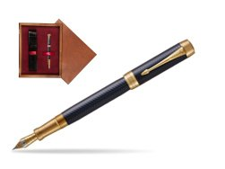 Parker Duofold Prestige Blue Chevron Centennial GT Fountain Pen  single wooden box Mahogany Single Maroon