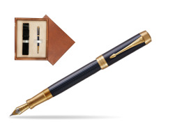 Parker Duofold Prestige Blue Chevron Centennial GT Fountain Pen  single wooden box  Mahogany Single Ecru