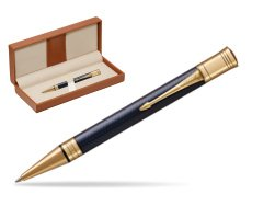 Parker Duofold Prestige Blue Chevron GT Ballpoint Pen  in classic box brown