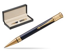 Parker Duofold Prestige Blue Chevron GT Ballpoint Pen  in classic box  pure black
