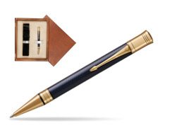 Parker Duofold Prestige Blue Chevron GT Ballpoint Pen  single wooden box  Mahogany Single Ecru