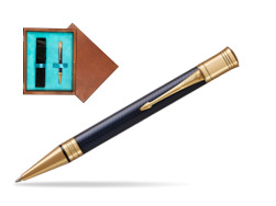 Parker Duofold Prestige Blue Chevron GT Ballpoint Pen  single wooden box  Mahogany Single Turquoise