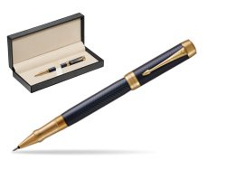 Parker Duofold Prestige Blue Chevron GT Rollerball Pen  in classic box  pure black
