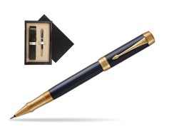 Parker Duofold Prestige Blue Chevron GT Rollerball Pen  single wooden box  Wenge Single Ecru