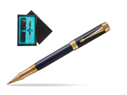 Parker Duofold Prestige Blue Chevron GT Rollerball Pen  single wooden box  Black Single Turquoise
