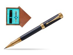 Parker Duofold Prestige Blue Chevron GT Rollerball Pen  single wooden box  Mahogany Single Turquoise