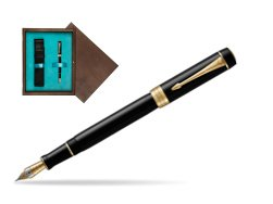 Parker Duofold Classic Black Centennial GT Fountain Pen  single wooden box  Wenge Single Turquoise