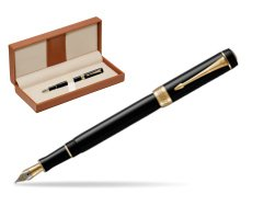 Parker Duofold Classic Black International GT Fountain Pen  in classic box brown