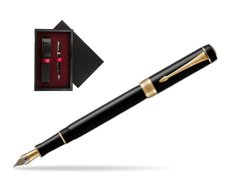 Parker Duofold Classic Black International GT Fountain Pen  single wooden box  Black Single Maroon