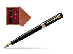 Parker Duofold Classic Black International GT Fountain Pen  single wooden box Mahogany Single Maroon