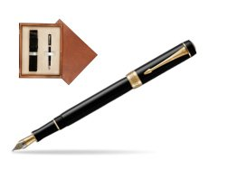Parker Duofold Classic Black International GT Fountain Pen  single wooden box  Mahogany Single Ecru